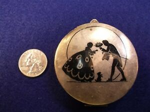 Rare Vtg Antique Victorian Era Sterling Silver Make Up Compact 3 Silhouettes