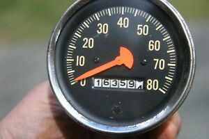 Vintage Stewart Warner 3 3 8 Mechanical 80 Mph Speedometer