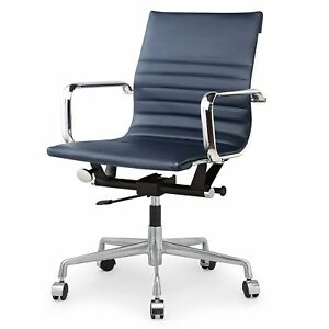 Meelano 348 nvy Office Chair In Vegan Leather Navy Blue