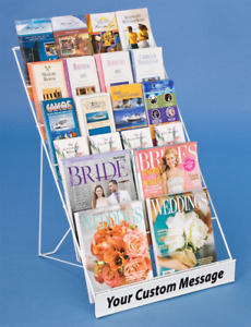 White 6 Tiered Tabletop Magazine Literature Book Display Rack With Header