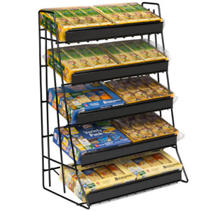 5 Tier Snack Food Convenience Store Counter Display Rack With Sign Channels