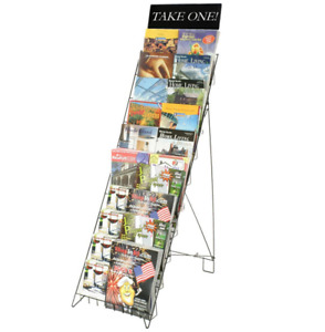 10 Tiered Wire Literature Stand For Floor Open Shelves With Header Black