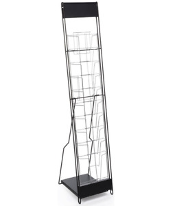 Black 10 Tier Portable Magazine Literature Display Stand With Case