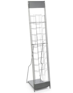 Silver 10 Tier Portable Magazine Literature Display Stand With Case