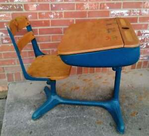 Vintage Child S School Desk And Chair Wood And Metal Hand Painted Desk Top