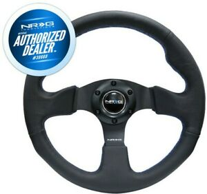 New Nrg Reinforced Steering Wheel Race Leather Blue Stitch 320mm Rst 012r Bl