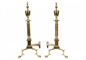 Large Pair Of Vintage Federal Style Brass Andirons 72198