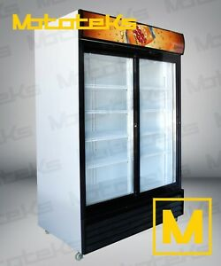 2 Door Commercial Refrigerator Sliding Door Cooler W Led Lights New