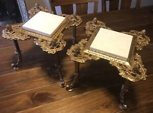Gorgeous Set Of 2 Antique Victorian Cast Brass Marble Top Plant Stands