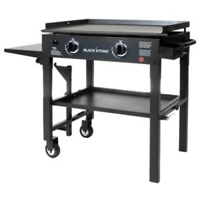 Gas Flat Grill In Black W griddle Top 2 Burner Restaurant Professional Cooking