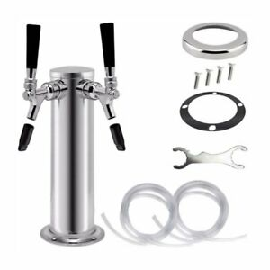 3 Chrome Double Tap Draft Beer Tower 2 Faucet For Kegerator 12 Tall