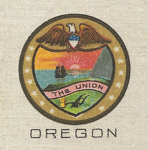 Vintage Tobacco Cigarette Silk Use In Crazy Quilt Us State Seal Oregon