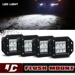 4pcs Led Work Light Bar Backup Reverse Bumper Fog Lamp Fit Toyota Tundra Tacoma