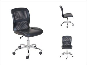 Armless Office Computer Task Desk Chair Vinyl Mesh Executive Padded Seat Back