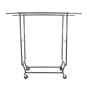 Heavy Duty Grade Collapsible Clothing Rolling Double Bar Garment Rack Hanger