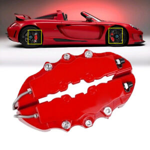 3d Red 4pcs Car Universal Disc Brake Caliper Covers Front Rear Durable Useful