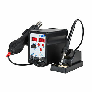 2 In1 Hot Air Rework Station Soldering Iron W 3 Nozzles Led Professional 898d