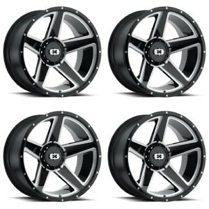 Set 4 20quot; Vision 390 Empire Black Milled Wheel Wheels 20x9 8x170 12mm Lifted $720.00