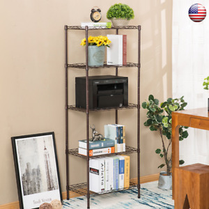5 shelf Steel Wire Home Storage Rack With Wheels Kitchen Heavy duty Corner Shelf