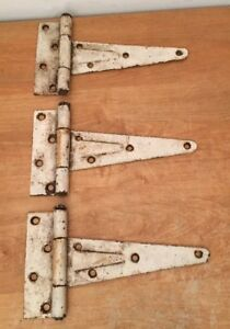 3 Vintage About 10 Long T Strap Butt Iron Barn Shed Door Hinges