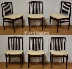 6 Danish Modern Dining Chairs Mid Century White Rosewood Color