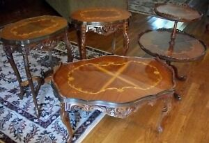Set Of 4 Antique French Provincial Carved Inlaid Tables Coffee 2 Side Tiered