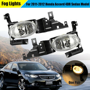 Clear Fog Light Front Bumper Lamp For 2011 2012 Honda Accord 4dr Ex Se Lx 1 Pair
