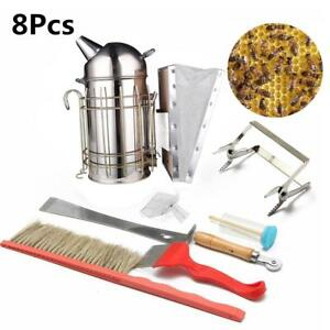 8pcs Set Beekeeping Tool Queen Catcher Kit Bee Hive Box Smoker Chisel Frame Grip
