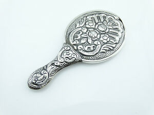 New Handmade Sterling Silver Hand Mirror W Floral Flowers Turkish 925 Silver S