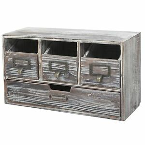 Rustic Brown Torched Wood Finish Desktop Office Organizer Drawers Craft