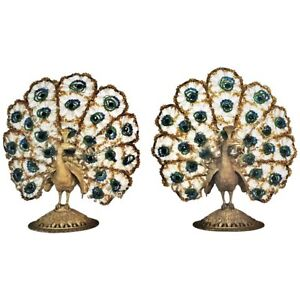 A Pair Of Art Deco Bronze Bohemian Crystal Peacock Nightstand Lamps Ca 1920s