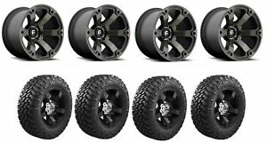 Set Of 4 Nitto 205 910 Tires Fuel D56420007347 Matte Black Machined Wheels