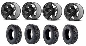 Set Of 4 Nitto 217 030 Tires Kmc Xd77521067324 Matte Black Wheels