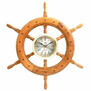 24 Oak Ship S Wheel With Lacquered Brass Round Quartz Clock