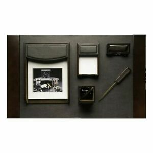 Bey Berk 6 Piece walnut Wood Brown Leather Desk Set