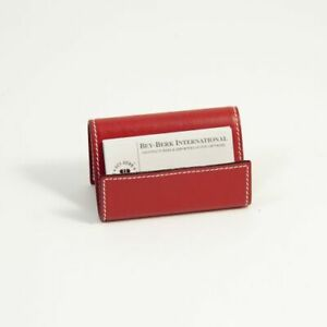 Bey Berk Red Leather Business Card Holder