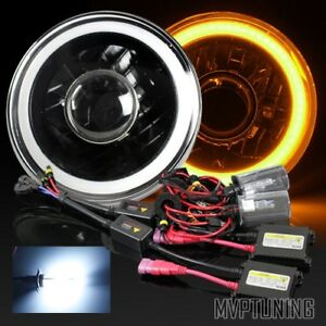 7 Round H6024 Black Housing 3d Amber Smd Halo Projector Headlight 6000k Hid Kit