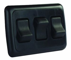 Jr Products 12245 Black Triple Spst On off Switch With Bezel
