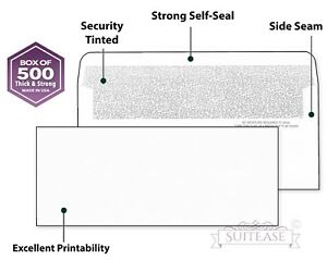 500 Security Self seal Envelopes Windowless Design Personal Business Mailing