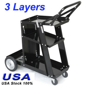Heavy Duty Mig Tig Welder Welding Cart Plasma Cutter Universal Storage For Tanks