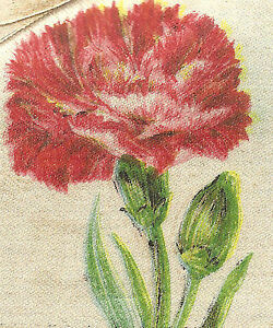 Vintage Antique Silk Applique Use In Crazy Quilt Block Flower Carnation