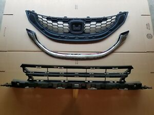 3pc Set 2013 2015 Civic 4dr 1 8l Front Bumper Upper W Chrome Lower Grille New