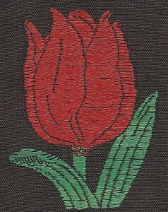 Vintage Antique Embroidered Silk Applique Use In Crazy Quilt Red Tulip Flower