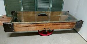 Reclaimed Vintage Industrial Railroad Factory Cart Coffee Table Lowered