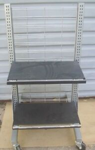 Store Fixture Supplies Rolling Slat Grid Display Unit 50 Tall With Shelves