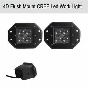 2x 5inch Pods 4d Cree Flush Mount Cree Flood Led Work Light Offroad Jeep Truck