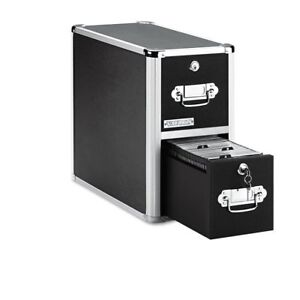 Vaultz Locking Cd File Cabinet 2 Drawers 8 X 14 5 X 15 5 Inches Black