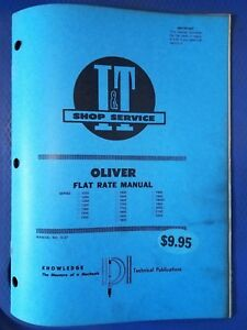 Oliver I t Shop Service Flat Rate Manual Series 1255 To 2255 O 27