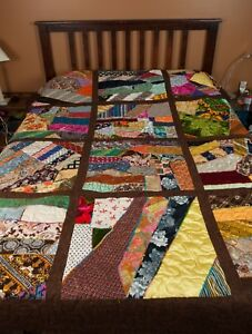 Vintage Velvet Silk Satin Fabric Crazy Quilt Top 92 X 79