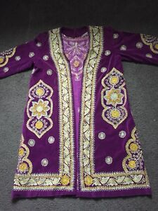Antique Uzbek Vintage National Beautiful Velour Gold Embroidery Chapan For Women